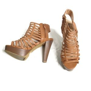 TOP MODA | Caged Ankle Zipped Heels